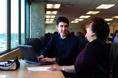 Patrick Gallagher and Maridel Deguzman, learning team employees, People Solutions, Vancity