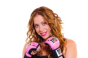 Angela, wearing kickboxing gloves